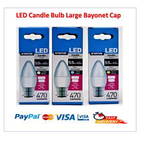 Status LED Candle Bulb Large Bayonet CapBC WarmWhite/CoolWhite/DayLight 5.5W=40W