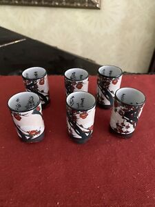 Vintage To Antique Set Of 6 Yunomi Japanese Tea Cups
