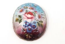Victorian Hand Painted Flowers Enamel Oval Brooch