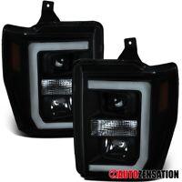 For 2008-2010 F250 F350 F450 Black Smoke Projector Headlights Lamps+LED DRL Bar