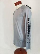 Under Armour Mens HeatGear 2.0 UA Graphic Long Sleeve T-Shirt NWT Tee Gray Large
