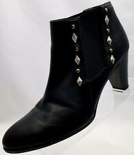 Amalfi By Rangoni Booties Studded Womens Black Leather Ankle Heel Shoes Size 9M