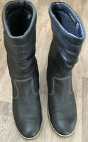 Ecco Soft Leather Flat Boots Wool Lining Uk 7 EU40 Black