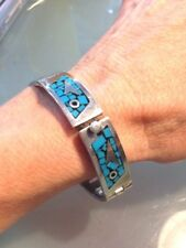 Inlaid Turquoise Signed 38 Grams Vintage Sterling Taxco Mexico Bracelet