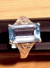 SIGNED CNA VINTAGE EMERALD CUT AQUA BLUE TOPAZ RING,4.8G,925 SLVR,SIZE 6,ESTATE