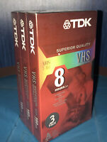 TDK T-160 8 Hour (EP) Sealed 3 Pack Superior Quality Blank VHS Tapes.
