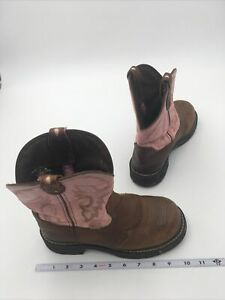 JUSTIN Gypsy Pink & Brown Leather Round Toe Western Boots L9901 Women's 7 1/2 B