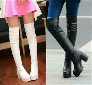 Winter over Knee Thigh Boot  Womens Solid chunky high heel platofrm pull on Boot