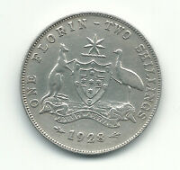 Australia Silver Coin 1 Florin 2 Shillings 1928 King George XF++ Rare Grade
