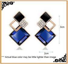 New Fashion brincos Jewelry Big Blue Crystal Earrings For Women Vintage Earrings