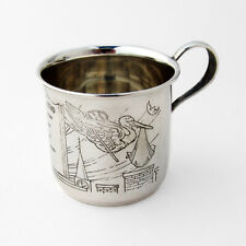 Birth Record Stork Baby Cup Webster Sterling Silver