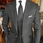 British Check Men's 3 Pieces Suits Peak Lapel Formal Groom Wedding Tuxedos Slim