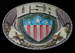 USA SHIELD BELT BUCKLE FLANKED BY STYLIZED EAGLES VINTAGE 1981