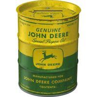 John Deere Oil Spardose Ölfass Optik Metall 11,7 cm Money Bank Neu
