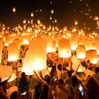 10/30/50x Paper Chinese Lanterns Sky Fly Candle Lamp For Wish Party Wedding UK