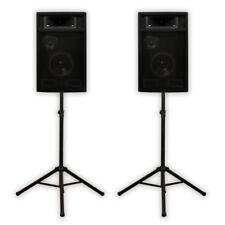 "Acoustic Audio PA-365X Passive 6.5"" DJ Speakers & Stands PA Karaoke 3-Way Studio"