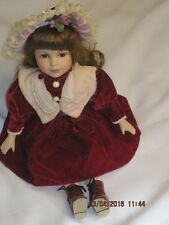 Vintage Angelina Collection Porcelain Doll in a Red Dress 1998