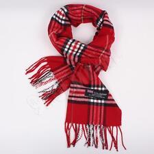Men Women unisex 100%CASHMERE Red Scarf tartan stripe Plaid SCOTLAND