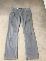 Dolce And Gabbana Men Grey Distressed Jeans Size 48