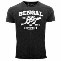 Herren Vintage Shirt Bengal Tiger Baseball Sport USA Printshirt T-Shirt