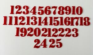 Die-cut felt numbers 1 - 25. Great for advent crafting & more! 12 colours avail