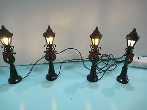 Christmas Village Scene Set of 4 Lamp posts 11cm Victorian, Battery operated.