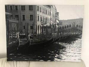 VENICE RIVER BOATS CANVAS PICTURE PRINT WALL 30.5inch/77cm X 23inch/58cm