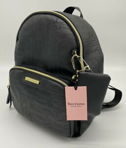 New- Juicy Couture-Women's Word Play Black Faux Leather Logo Backpack Medium