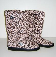 SKECHERS LEOPARD PRINT PUFFY PUFFER BOOTS SLIP ON CHILD SIZE 5 NWOB!