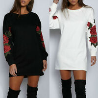Women's Fashion Long Sleeve Round Neck Mini Shirt Dress Evening Party Long Tops
