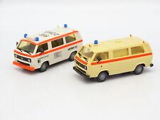 Roco 1/87 HO - Lot de 2 VW Transporter T3 Ambulance Feuerwehr Pompiers