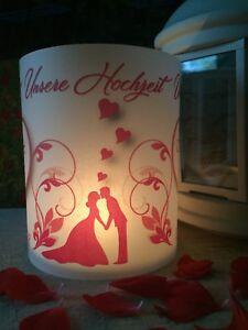 4x Tischlicht Hochzeit Rot Tischdeko Windlicht Deko mit Namen Datum Gastgeschenk