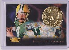 RARE 1996 PINNACLE MINT BRETT FAVRE GOLD PLATED COIN & CARD #9 GREEN BAY PACKERS