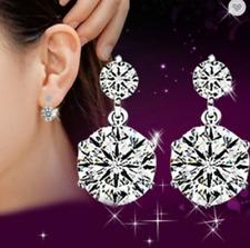 Double CZ Gem Crystal gota Stud oreja Pendientes de plata esterlina 925 Boda Reino Unido vender