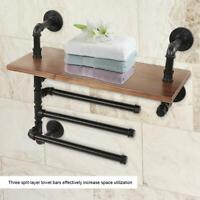 Industrial Style Pipe Towel Bar Holder Wall Mounted Shelves Rack for Bathroom US