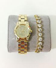 NWT Set of Michael Kors Women's Gold Watch & Bracelet MINI RUNWAY MK3669 $375