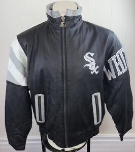 Vintage 90s Chicago White Sox Genuine Leather STARTER Jacket Black/White Medium