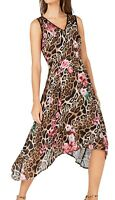 INC Womens Dress Classic Brown Size 4 Sheath Leopard Floral Print $119 552