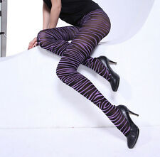 Opaque Purple / Red Zebra Print Pantyhose Tights (One Size Fits Most)