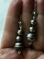 #1116 Earrings, Navajo Handmade Bench Beads Sterling Silver, Sunrise Stamped 925