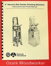 "DELTA/ROCKWELL/MILWAUKEE 6"" Belt Sanders Instructions & Parts Manual 0961"