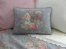 NEW Custom Ralph Lauren Shelter Island Blue Floral Accent Pillow 1 Button