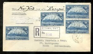 p408 - Canada #202 x4 on 1933 Registered Cover to Switzerland, Steamer Europa