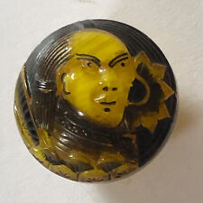 Japanese Samurai Warrior With A Sunflower Yellow Glass Vintage Button 16mm