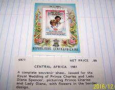 CENTRAL AFRICA 1981 ROYAL WEDDING SOUVENIR SHEET LOT 39