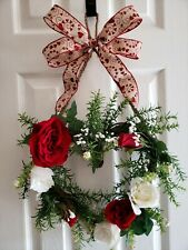 """Handmade 14"""" Natural Twig Grapevine Heart Shaped Wreath with Artificial Flowers"""