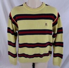 Tommy Hilfiger Mens Crew Neck Sweater Yellow Striped Pull Over Long Sleeve CC489