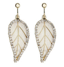Clip On Earrings - gold plated drop leaf earring with crystals - Kaede