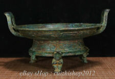 """10"""" Antique Old Chinese Bronze Ware Dynasty Mouse basin tub pot Food Vessel"""