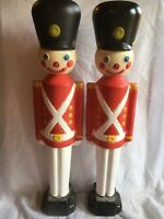 Blow Mold Toy Soldiers Light Up General Foam Christmas Decoration Display Pair